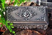 big jewelery box - big size quot Metal jewellery box trinket box hot sellig gift box Pewter plated rose design jewelery box
