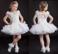 Reference Images Girl Beads 2014 Cutely Girls' Pageant Dresses Girls' Formal Organza Scoop Little Princess Mini Dress Flower Beads Sequins Crystal Style Made In China
