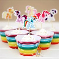 April Fool's Day baby shower cake topper - 12set My Little Pony cupcake wrappers kids birthday party favors festa cake toppers baby shower party supplies AW