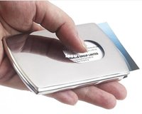 Wholesale Stainless Steel Pocket ID Credit Card Holder Case Business Card Holder Vogue Thumb Slide Out
