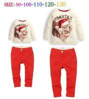 cat - Lowest Price girls fashion Santa cat denim sets children long sleeve t shirt jeans outfits kids autumn christmas Xmas clothes