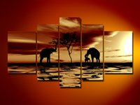 africa trees - hand painted oil wall art pictures Africa elephants tree home decoration Landscape Frameless draw canvas oil painting set