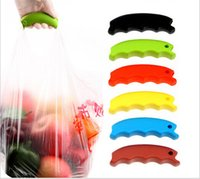 Wholesale cute Fashion Bag Clips Handlebar Soft One Trip Stocked Grip Handle Shopping Bag carry device Convenience bags Home Storage Organization