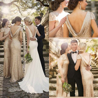 Wholesale 2016 rose gold Long Bridesmaid Dresses For Cheap High Neck Backless Wedding Party Evening Gowns Bling Sorella Vita Maid Of Honor Dresses