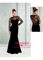 brides made - Alluring black lace evening dress see through high neck long sleeves mermaid plus size mother of the bride dresses custom made TE91898