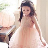 Wholesale lace spring Girls princess dresses Fashion children kids girl clothing clothes Lace tulle Sleeveless Dress kids tutu party dress