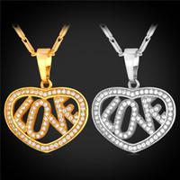 achat en gros de collier coeur zircone-U7 coeur d'amour collier pendentif bijoux des femmes Valentines cadeau 18K réel Gold / Platinum plaqué AAA Zircon Collier Accessoires