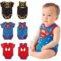 Wholesale 2015 Kid Baby Polkadot Newborn Bodysuits Rompers Set Toddler Crossfits Cute Superman Batman Spiderman Print Patchwork Cartoons Clothing