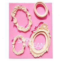 frame moulding - M0331 Retro mirror frame fondant cake molds soap chocolate mould for the kitchen baking