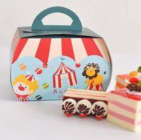 Wholesale 300PCS circus troupe carnival decoration Paper Cupcake box macarons chocolate dessert box cake candy box RY