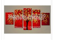 Cheap Hand Painted Tree Canvas Oil Painting Modern Abstract 5 Panel Wall Art Picture Set Decoration For Living Room