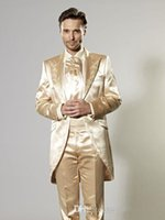 Wholesale Two Pieces Hot Sale Custom Made Groom Tuxedos Gold Wedding Suit Dinner Suit Groomsman Suit Boy s Suit
