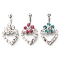 Wholesale 20Pcs L Surgical Steel G Clear Rhinestone Flower Heart Navel Belly Button Ring Barbell