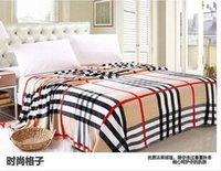 Wholesale Square plaid Japan Style Printed cmX230cm Hospital Geometric Chocolate Hand Wash a warm flannel blanket on the bed