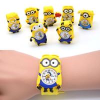al por mayor snap niños relojes-100pcs / lot silicona Annimal Slap Snap reloj hombre amarillo Minions Despicable Me niños de la historieta del reloj de caramelo del reloj de regalo para los niños
