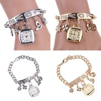 Wholesale Flower Heart Love Style Rhinestone Stainless Steel Chain Bracelet Wrist Watch women VB200 P