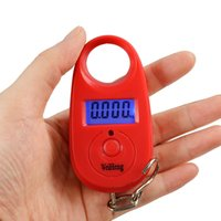 Cheap Hanging Scale Luggage 25kg x 5g Mini Digital Fishing Weighing Portable Hook Red