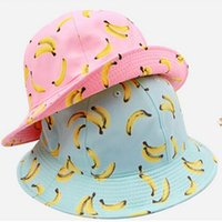 banana fruit bowl - Bucket Hats wild banana fruit bowl topped hat cap summer male and female couple large brimmed hat sun hats for women