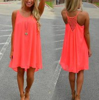 Wholesale 2015 retail Sexy Women s Summer Casual Sleeveless Evening Party Beach Dress Short Mini Dress
