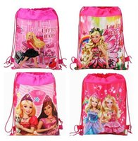 Wholesale Kids Birthday Gift Barbie Drawstring Bags Non Woven Mochila Infantil Sided Printing Backpack For Children s Cartoon Schoolbag