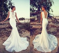 Cheap 2015 Liz Martinez Wedding Dresses Sexy Boho Lace Bateau Neck Backless Mermaid Satin Court Train Beach Bridal Gowns
