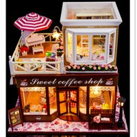 big house furniture - 2016 NEW Sweet Coffee Shop DIY Wooden Miniatura Doll House with Furniture Handmade Big Doll House Assembling Toys