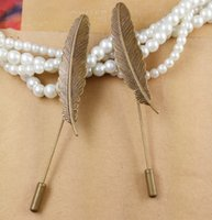 Wholesale pieces mm length unisex trendy vintage antique bronze plated feather long brooch pin settings jewelry cy503