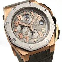 Wholesale New Mens Watch Quartz VK Movement Chronograph Stopwatch Royaloak Offshore Grey leather band original calsp men s watches mm