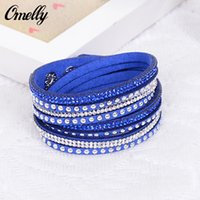 Wholesale 18 Colors Multilayer Wrap Bracelets Rhinestone Diamond Crystal Leather Bracelets Band Tennis Wristband Colorful Charming Jewelry In Bulk