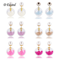 abs earring - Hot Selling Double Sided Earrings for Women Transoarent Glass ABS Pearl Ball Earring Fashion Jewelry European Cute Stud Earing ER154504
