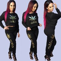 brand fashion tracksuits - Fashion Brand Pullover Tracksuit Women Letter Print Sport Suit Long Sleeve Sweatshirt Pant Jogging Sportswear pc Clothing Set S XL