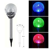 Wholesale Led Solar Light Outdoor RGB Color Gradual Changing Solar Crackle Glass Ball LED Lawn Lamp Light with Stainless Steel Stake order lt no track