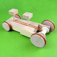 assembly plastic materials - DIY make small invention of science and technology Manual elastic stretch back wooden car Environmental puzzle assembly materials