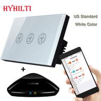 Wholesale US Model WIFI Fan Switch Speed Regulation White Crystal Glass Panel BroadLink RM PRO Phone Control Wall Switch