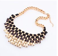 Wholesale 2015 Europe and the United States big gradient retro metal temperament short necklace necklaces pendants Free shiping