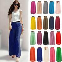 maxi - 2015 HOT Women Fashion Retro Double Layer Chiffon Pleated Long Maxi Dress chiffon Elastic Waist Skirt