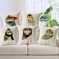 home furniture decoration - Cartoon Owl Cushion Cover Jungle Animal Print Linen Cojines Hot Sale For Sofa Furniture Home Decoration
