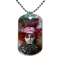Wholesale Mad Hatter Alice in Wonderland Customized Colorful Design Dog Tag Necklace Aluminum Tag for Animal Pets Tag