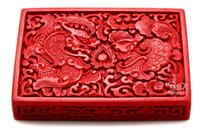 Wholesale Chinese Flower Red Cinnabar Lacquer Dragon Phoenix Jewelry Business card Box
