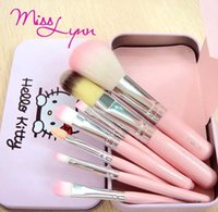 Wholesale 2015 new Set Hello kitty Make Up Cosmetic Brush Kit Makeup Brushes Pink iron Case Toiletry beauty appliances makeup brush DHL FREE