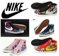 lady leisure shoes - NIKE BLAZER MID TEXTILE floral women skate shoes discount girl Nike canvas leisure shoes brand ladies casual shoes size