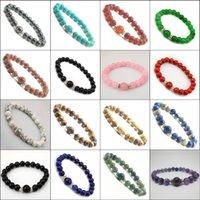 Wholesale Various colors Natural bead bracelet Red Agate Turquoise Tiger Eye Amethyst Hematite mm Round Semi precious stone Bracelet