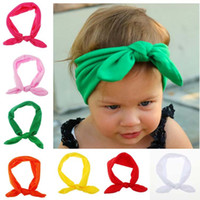 best head band - 2015 New Best Sale Baby Hairband Girls Lovely Bow Hair Band Infant Cute Hare Rabbit Ear Head wrap Children Bowknot Elastic Accessories baby