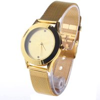 Cheap Pre-Sale Fashion Round Dial with Rhinestone Decoration Metal Band Wrist Watch for Women - Golden