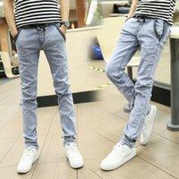 Wholesale 2015 New Arrival Mens Jeans Korean Slim Fit Jeans Men Leisure Pants Men Light Color Casual Jeans Drawstring Waist Jeans