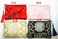 candy packaging supplies - Luxury Fashion Tassel Thicken Large Zipper Pouches Party Favors Silk Brocade printed Gift Packaging Bags with Lined mix color