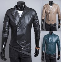 Wholesale 2014 autumn and winter fashion personality city double breasted small stand collar men s casual short leather casual