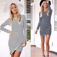 Wholesale New Fashion Slim Hip Bodycon Dresses Casual Women Work Wear Strip Dress Plus Size