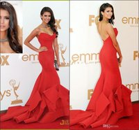 Wholesale Cheap for sale Emmy Awards Nina Dobrev Red Satin Celebrity Dresses Red Carpet Sexy Backless Evening Formal Gowns Mermaid Trumpet