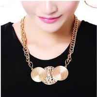 Wholesale 2015 Europe Trend Punk Fashion Women Circle Necklace For Summer In Silver Gold Bronze Ready To Ship Party Street Style